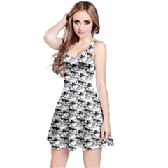Gray Pattern Of Horse Stallions With A Black Silhouetted Sleeveless Skater Dress