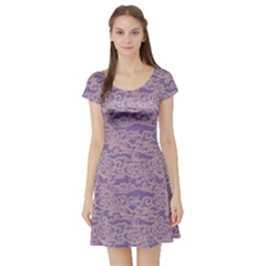 Purple Pattern With Waves Stylish Design Short Sleeve Skater Dress