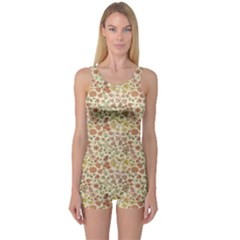 Colorful Floral Pattern With Butterflies On Beige Women s One Piece Swimsuit by CoolDesigns
