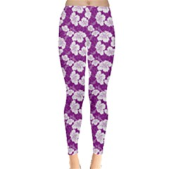 Purple With Hibiscus Flower Hawaiian Patterns Leggings by CoolDesigns