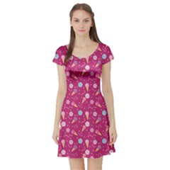Red Pattern Of Sweets Ice Cream Candy Short Sleeve Skater Dress by CoolDesigns