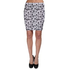 Black Pattern With Silhouette Ingredients Pizza Bodycon Skirt