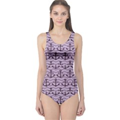 Purple With Sea Anchors Stylish Design Women s One Piece Swimsuit by CoolDesigns