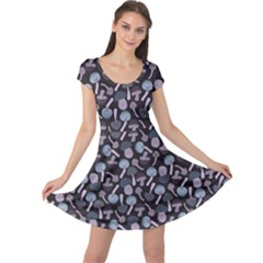 Purple Mushroom Pattern Stylish Design Cap Sleeve Dress by CoolDesigns