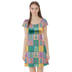 Green Patchwork With Colorful Anchors Baby Short Sleeve Skater Dress