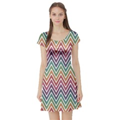 Colorful Wave Chevron Pattern Stylish Design Short Sleeve Skater Dress by CoolDesigns