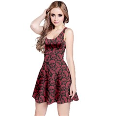 Black Red Skulls Pattern Geometric Contemporary Style Repeating Sleeveless Skater Dress