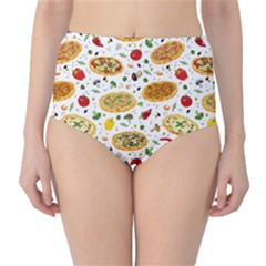 Colorful Pattern With Different Pizza And Spices High Waist Bikini Bottom by CoolDesigns