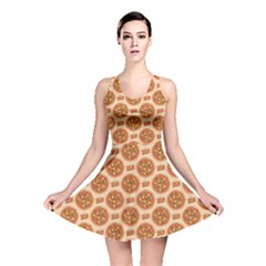Yellow Pizza Pattern Stylish Design Reversible Skater Dress by CoolDesigns
