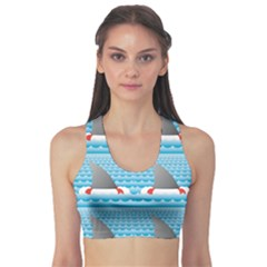 Blue Shark Fin Life Buoy Easy To Edit Women s Sport Bra by CoolDesigns