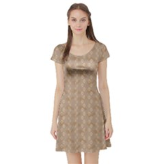 Brown Pattern Ways Dog Paw Prints And Legs Of A Man Short Sleeve Skater Dress