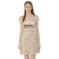 Colorful Kawaii Pattern With Cute Cakes Short Sleeve Skater Dress by CoolDesigns