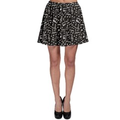 Black White Music Elements On Black Square Pattern Skater Dress by CoolDesigns