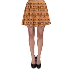 Orange African Tribal Pattern Ethnic Ornament With Different Skater Dress by CoolDesigns