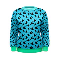 Sky Blue Different Style Birds Flying Pattern Women s Sweatshirt by CoolDesigns