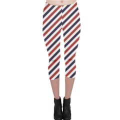 Red Barber Pole Pattern Barber Texture Capri Leggings
