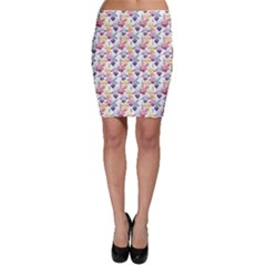 Colorful Pattern With Violet Orange And Vinous Iris Flowers Bodycon Skirt by CoolDesigns