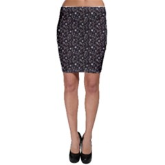 Black Abstract Flower Pattern Bodycon Skirt by CoolDesigns