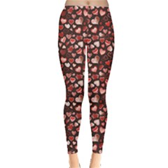 Black Beautiful Love Hearts Pattern Leggings by CoolDesigns