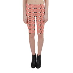 Pink Pattern Cute Cats In Love Cropped Leggings by CoolDesigns
