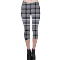 Dark Plaid Pattern Capri Leggings by CoolDesigns