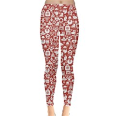 Pink Christmas Pattern Of Icons Leggings
