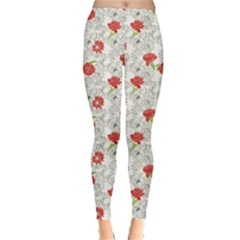 Red Floral Pattern With Red Flowers On Monochrome Leggings by CoolDesigns
