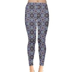 Blue Traditional Morocco Pattern Leggings by CoolDesigns