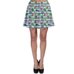 Blue Pattern With Colorful Fish And Coral On Wavy Skater Skirt by CoolDesigns