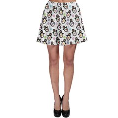 Black Pattern With Cartoon Penguins Skater Skirt by CoolDesigns