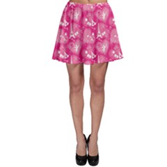 Pink Love Concept Pattern With Lace Hearts Skater Skirt