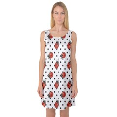 Red Ladybugs Black Polka Dots Pattern Sleeveless Satin Nightdress by CoolDesigns