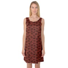 Dark A Pattern With Dinosaur Silhouettes Sleeveless Satin Nightdress by CoolDesigns