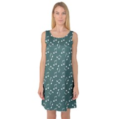 Green Music Elements Notes Gray Pattern Sleeveless Satin Nightdress