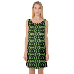 Green Shamrock Pattern Black Sleeveless Satin Nightdress by CoolDesigns