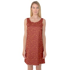 Red Bright Pattern With Flip Flops And Sunglasses Sleeveless Satin Nightdress by CoolDesigns