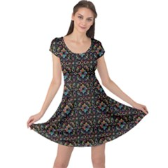 Dark Pattern Decorative Ornament Cap Sleeve Dress