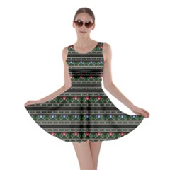 Dark Polish Folk Art Pattern With Flowers Wzory Lowickie Skater Dress by CoolDesigns