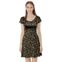 Dark With Autumn Flowers Pattern Short Sleeve Skater Dress by CoolDesigns