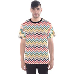 Colorful Wave Chevron Pattern Men s Sport Mesh Tee by CoolDesigns