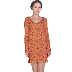 Orange Halloween Symbols Pattern Orange Long Sleeve Nightdress by CoolDesigns