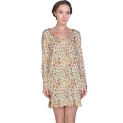 Colorful Floral Pattern With Butterflies On Beige Long Sleeve Nightdress