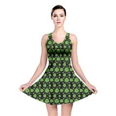 Green Shamrock Pattern Black Reversible Skater Dress