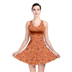 Orange Halloween Symbols Pattern Orange Reversible Skater Dress by CoolDesigns