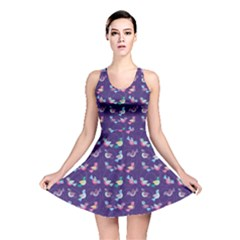 Purple With Color Pattern Birds Reversible Skater Dress by CoolDesigns