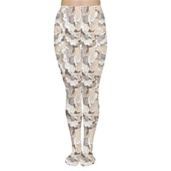 Gray Bright Graphic Floral Pattern Tights by CoolDesigns