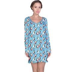 Blue Pattern Funny Penguins Snowflakes On Blue Icy Long Sleeve Nightdress by CoolDesigns
