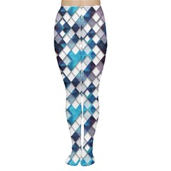 Blue Pattern Blue Geometric Abstract Pattern Of Squares Tights by CoolDesigns