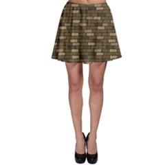 Brown Brick Wall Pattern Cracks Skater Skirt by CoolDesigns