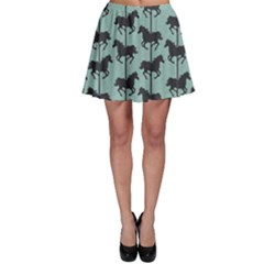 Turquoise Carousel Horses Silhouettes Skater Skirt by CoolDesigns
